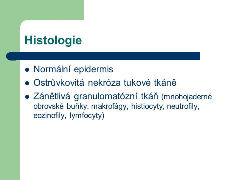 Histologie Normální epidermis Ostrůvkovitá nekróza tukové tkáně Zánětlivá granulomatózní tkáň (mnohojaderné obrovské buňky, makrofágy, histiocyty, neutrofily, eozinofily, lymfocyty)
