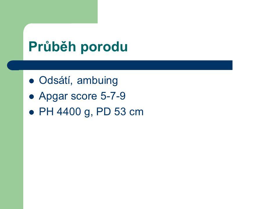 Průběh porodu Odsátí, ambuing Apgar score 5-7-9 PH 4400 g, PD 53 cm