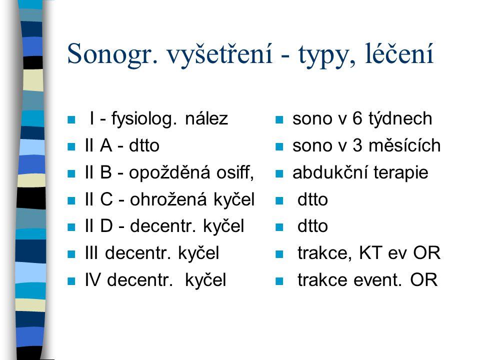 Sonogr. vyšetření - typy, léčení n I - fysiolog. nález n II A - dtto n II B - opožděná osiff, n II C - ohrožená kyčel n II D - decentr. kyčel n III de