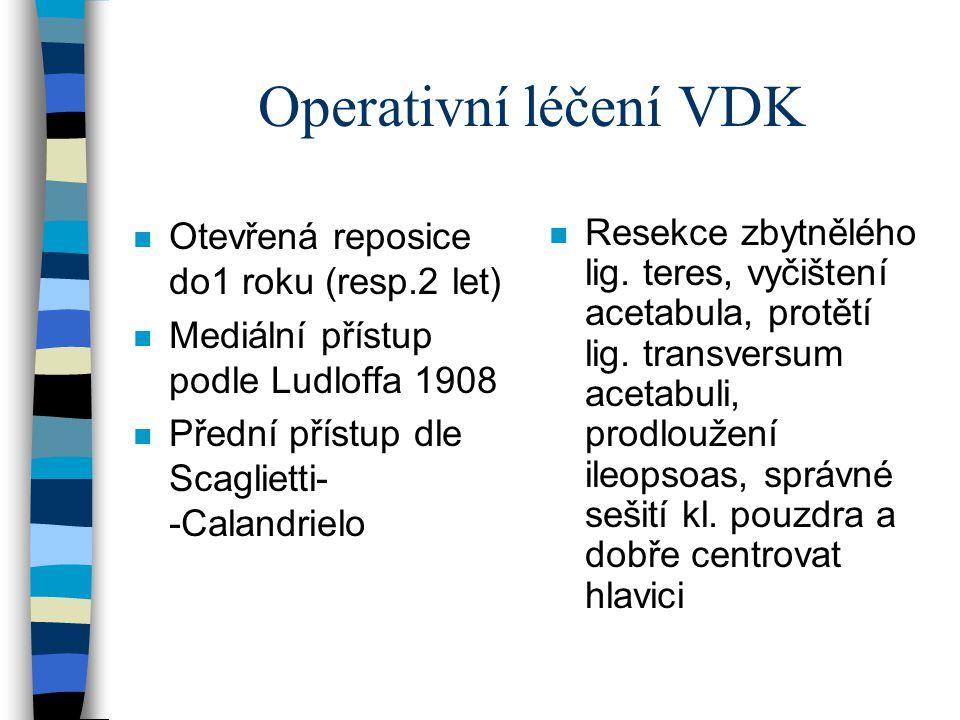 Operativní léčení VDK n Otevřená reposice do1 roku (resp.2 let) n Mediální přístup podle Ludloffa 1908 n Přední přístup dle Scaglietti- -Calandrielo n