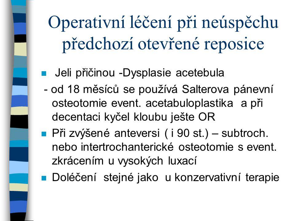Operativní léčení při neúspěchu předchozí otevřené reposice n Jeli přičinou -Dysplasie acetebula - od 18 měsíců se používá Salterova pánevní osteotomi