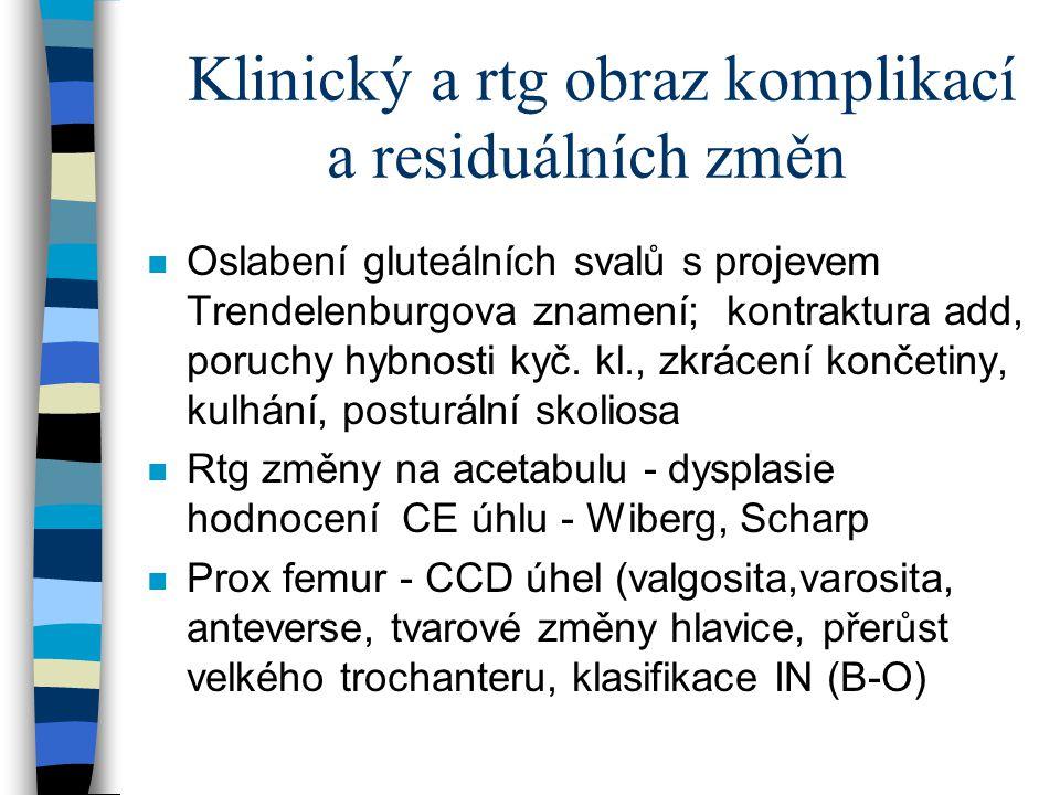 Klinický a rtg obraz komplikací a residuálních změn n Oslabení gluteálních svalů s projevem Trendelenburgova znamení; kontraktura add, poruchy hybnost