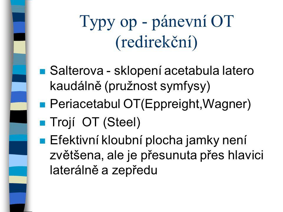 Typy op - pánevní OT (redirekční) n Salterova - sklopení acetabula latero kaudálně (pružnost symfysy) n Periacetabul OT(Eppreight,Wagner) n Trojí OT (