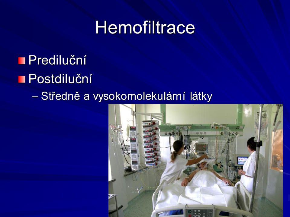Hemofiltrace PredilučníPostdiluční –Středně a vysokomolekulární látky