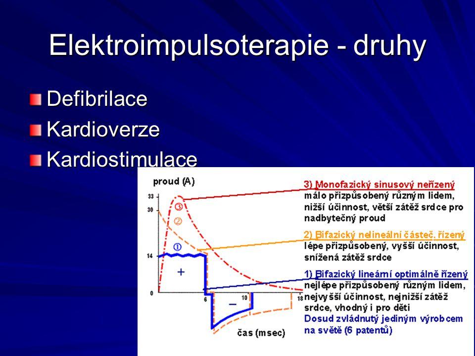 Elektroimpulsoterapie - druhy DefibrilaceKardioverzeKardiostimulace