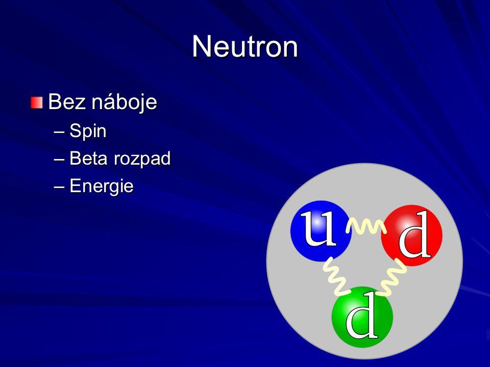Neutron Bez náboje –Spin –Beta rozpad –Energie