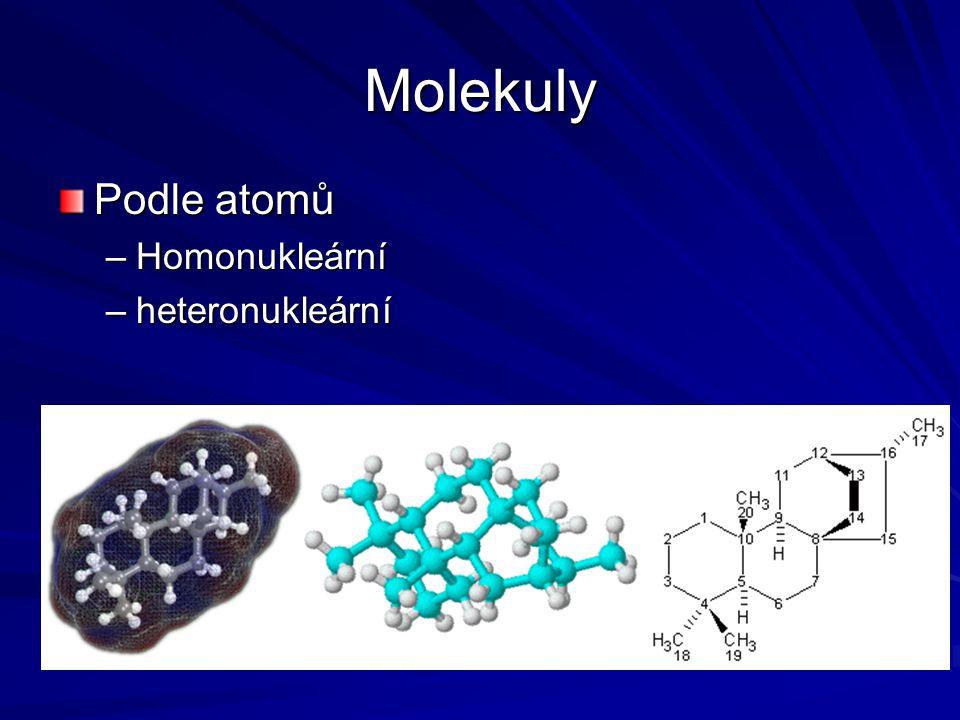 Molekuly Podle atomů –Homonukleární –heteronukleární