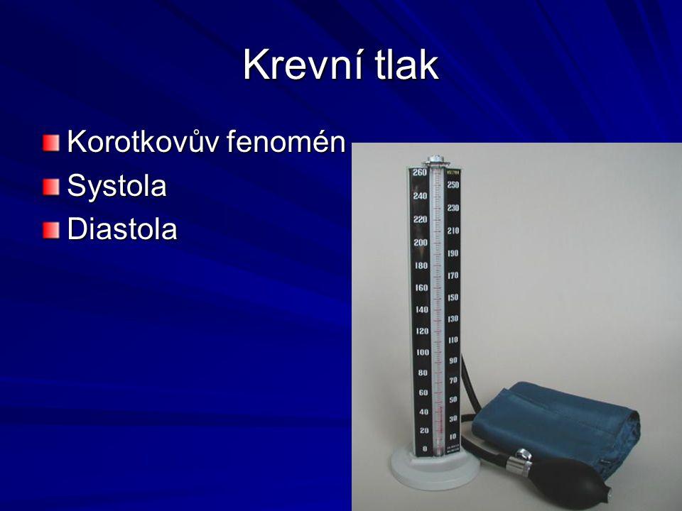 Krevní tlak Korotkovův fenomén SystolaDiastola