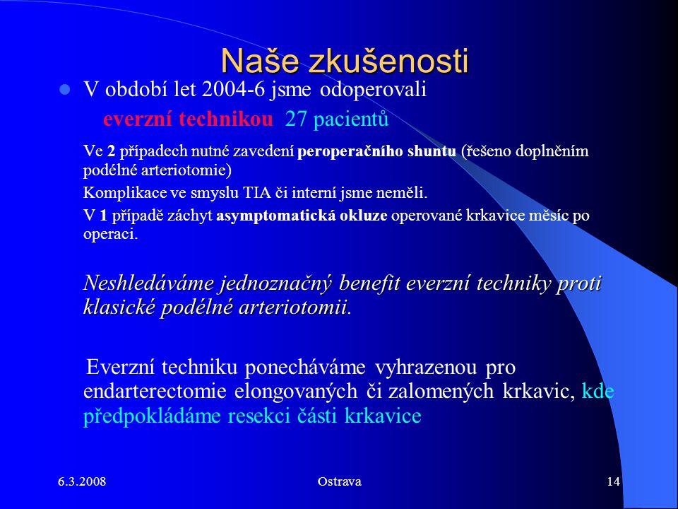 6.3.2008Ostrava14 Naše zkušenosti V období let 2004-6 jsme odoperovali everzní technikou 27 pacientů Ve 2 případech nutné zavedení peroperačního shunt
