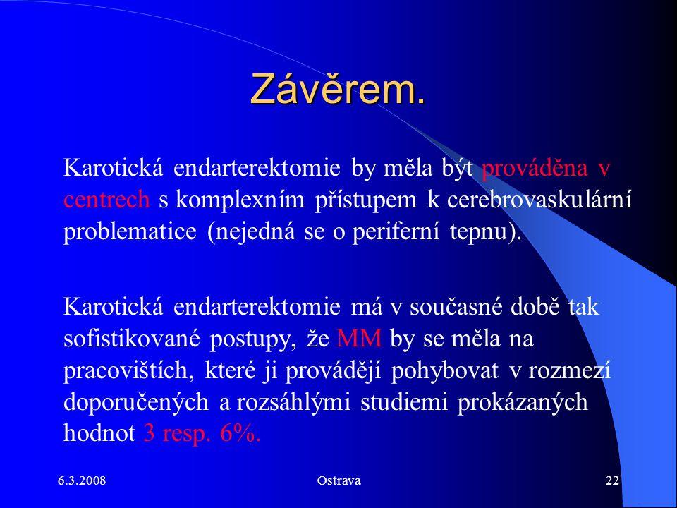 6.3.2008Ostrava22 Závěrem. Karotická endarterektomie by měla být prováděna v centrech s komplexním přístupem k cerebrovaskulární problematice (nejedná