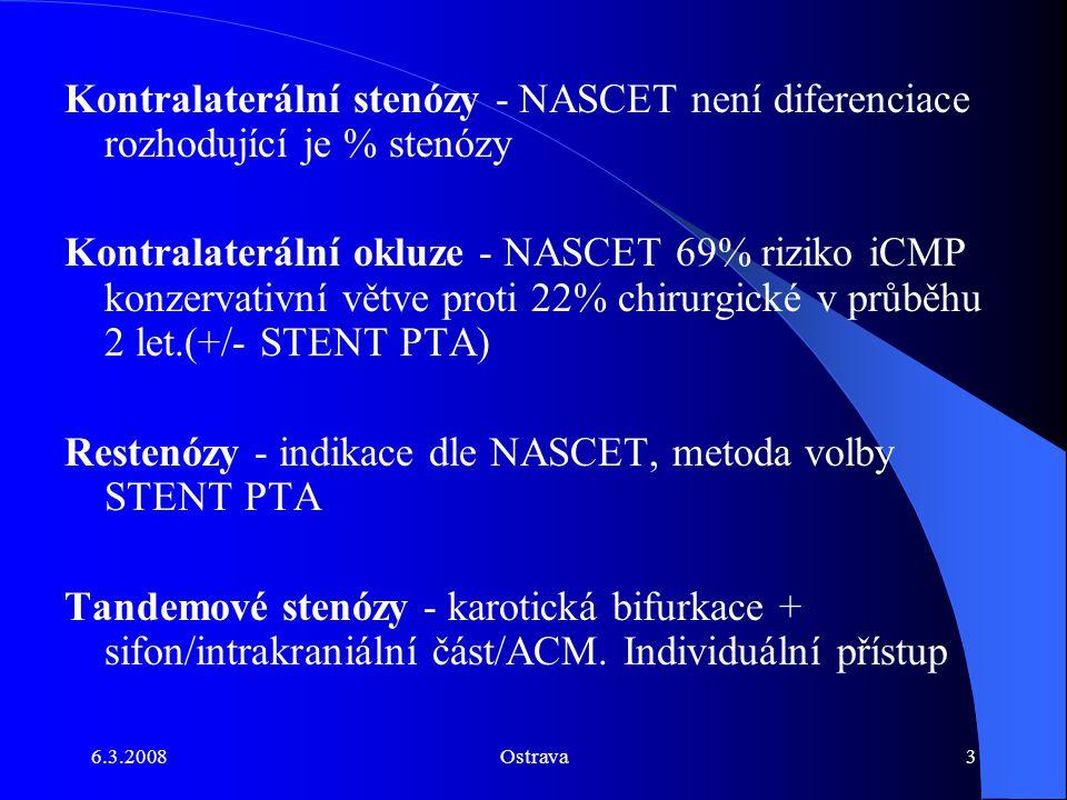 6.3.2008Ostrava3 Kontralaterální stenózy - NASCET není diferenciace rozhodující je % stenózy Kontralaterální okluze - NASCET 69% riziko iCMP konzervat