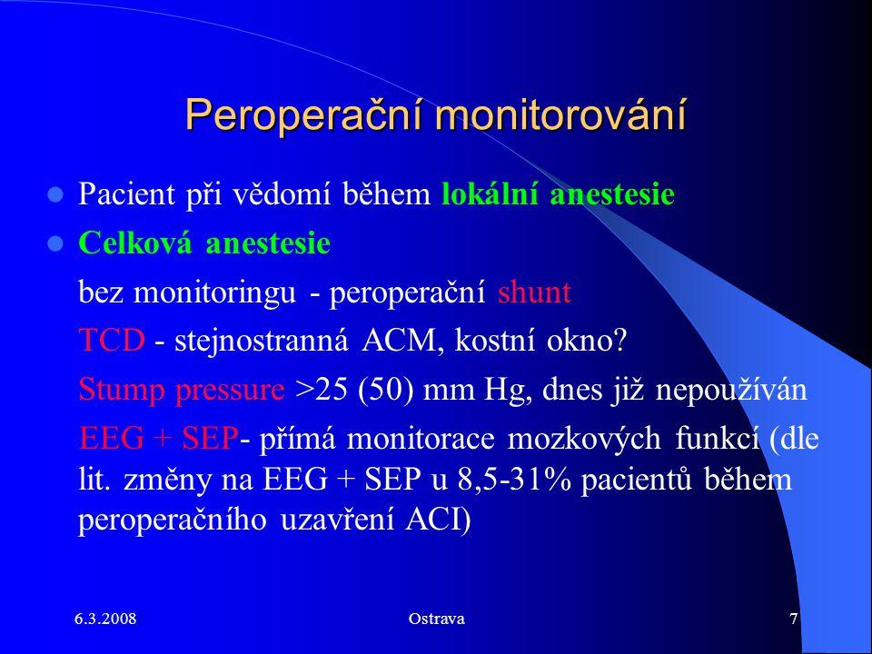 6.3.2008Ostrava7 Peroperační monitorování Pacient při vědomí během lokální anestesie Celková anestesie bez monitoringu - peroperační shunt TCD - stejn