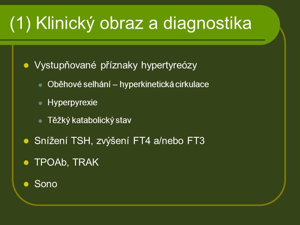 (1) Klinický obraz a diagnostika Vystupňované příznaky hypertyreózy Oběhové selhání – hyperkinetická cirkulace Hyperpyrexie Těžký katabolický stav Sní