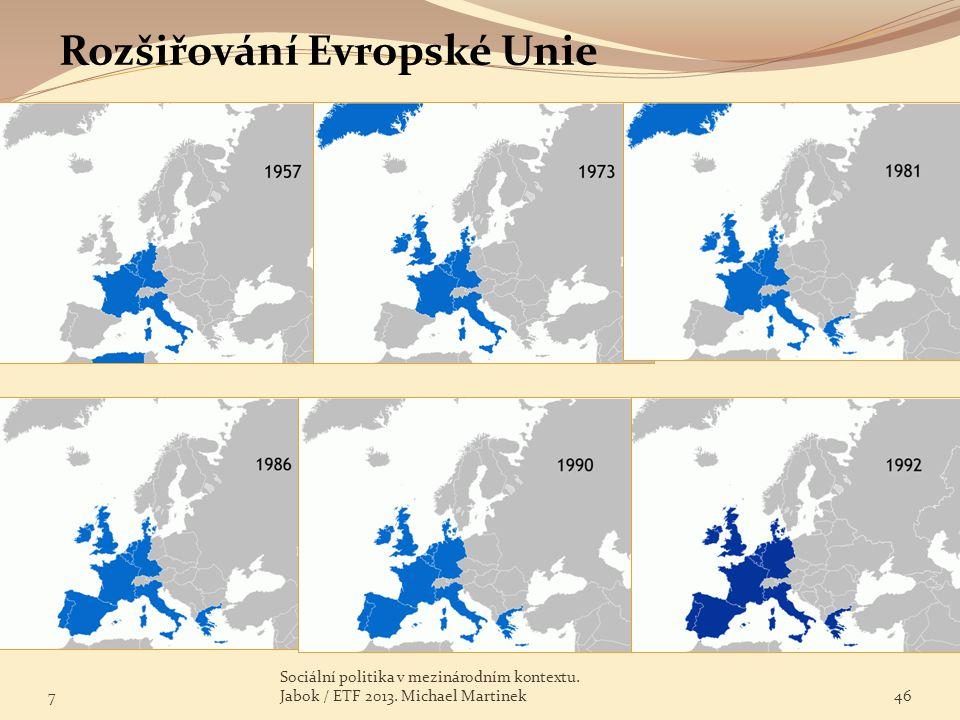 Rozšiřování Evropské Unie 7 Sociální politika v mezinárodním kontextu. Jabok / ETF 2013. Michael Martinek46
