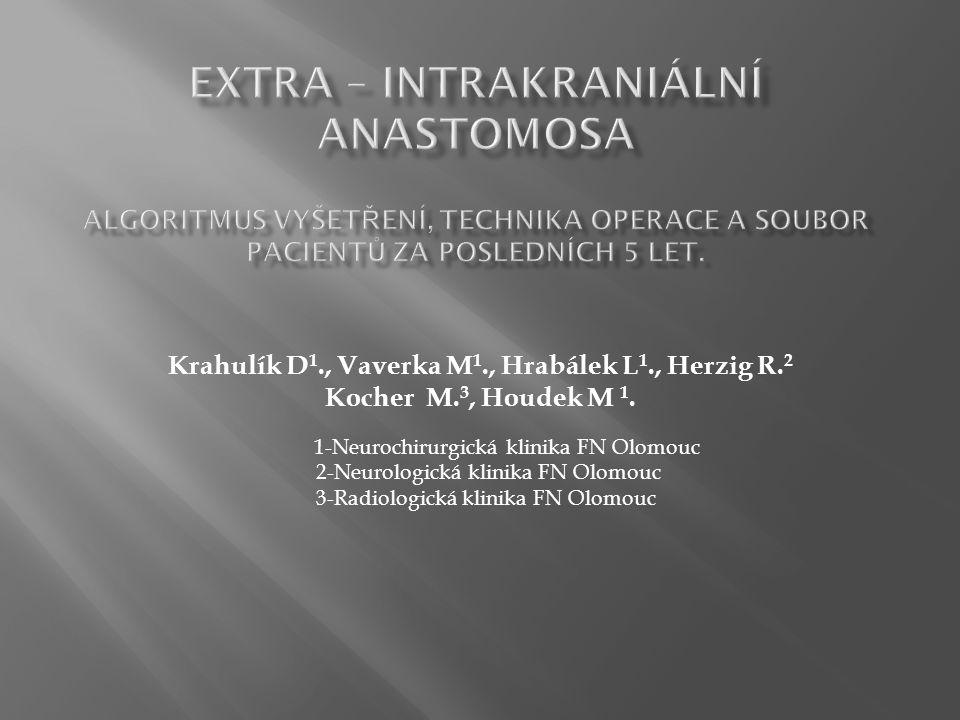 Krahulík D 1., Vaverka M 1., Hrabálek L 1., Herzig R. 2 Kocher M. 3, Houdek M 1. 1-Neurochirurgická klinika FN Olomouc 2-Neurologická klinika FN Olomo