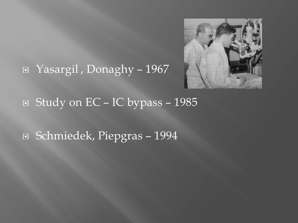  Yasargil, Donaghy – 1967  Study on EC – IC bypass – 1985  Schmiedek, Piepgras – 1994