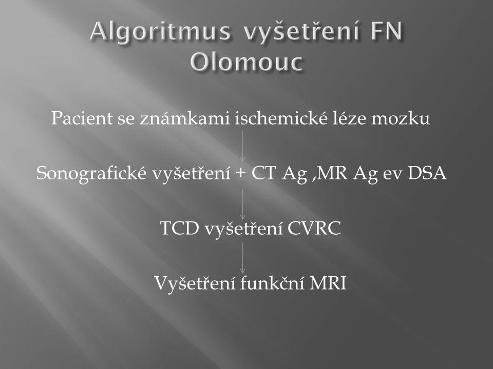 Pacient se známkami ischemické léze mozku Sonografické vyšetření + CT Ag,MR Ag ev DSA TCD vyšetření CVRC Vyšetření funkční MRI
