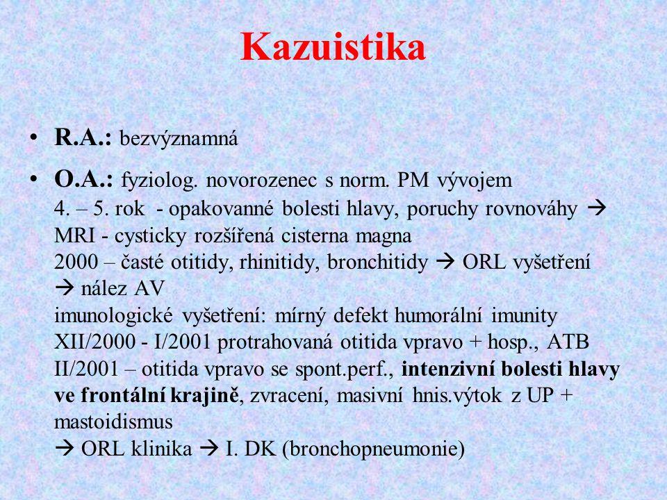 Kazuistika R.A.: bezvýznamná O.A.: fyziolog. novorozenec s norm. PM vývojem 4. – 5. rok - opakovanné bolesti hlavy, poruchy rovnováhy  MRI - cysticky