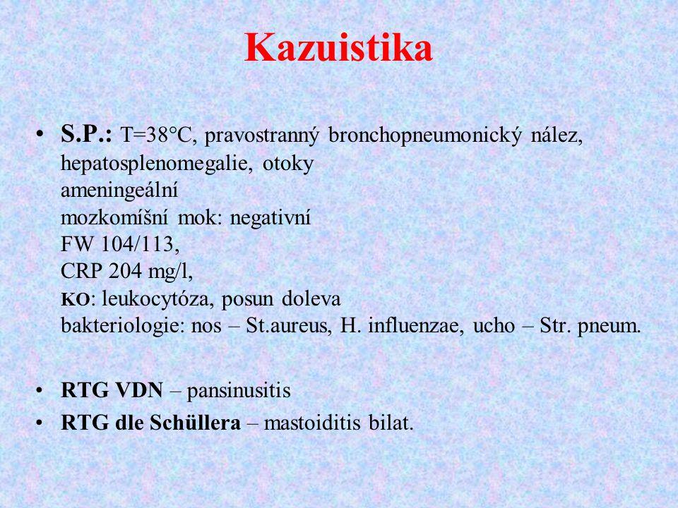 S.P.: T=38°C, pravostranný bronchopneumonický nález, hepatosplenomegalie, otoky ameningeální mozkomíšní mok: negativní FW 104/113, CRP 204 mg/l, KO :