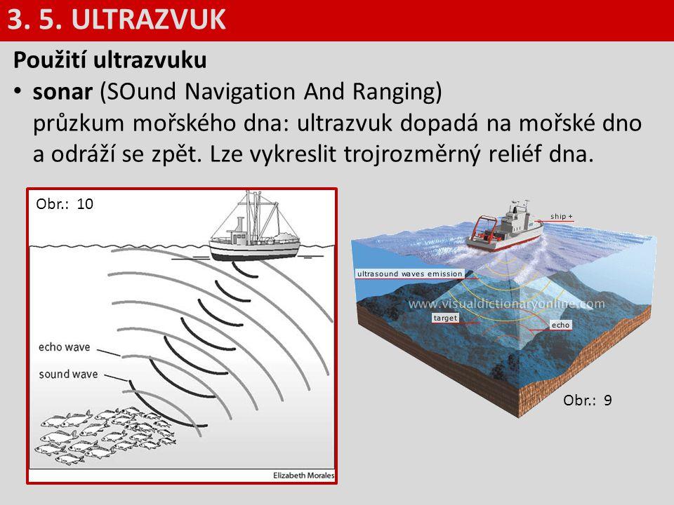 Použití ultrazvuku sonar (SOund Navigation And Ranging) průzkum mořského dna: ultrazvuk dopadá na mořské dno a odráží se zpět. Lze vykreslit trojrozmě