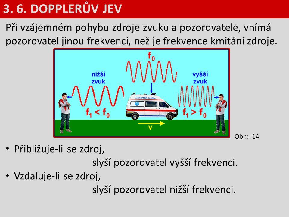 Při vzájemném pohybu zdroje zvuku a pozorovatele, vnímá pozorovatel jinou frekvenci, než je frekvence kmitání zdroje. Přibližuje-li se zdroj, slyší po