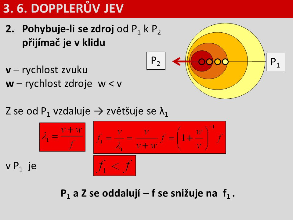 2.Pohybuje-li se zdroj od P 1 k P 2 přijímač je v klidu v – rychlost zvuku w – rychlost zdroje w < v Z se od P 1 vzdaluje → zvětšuje se λ 1 v P 1 je P