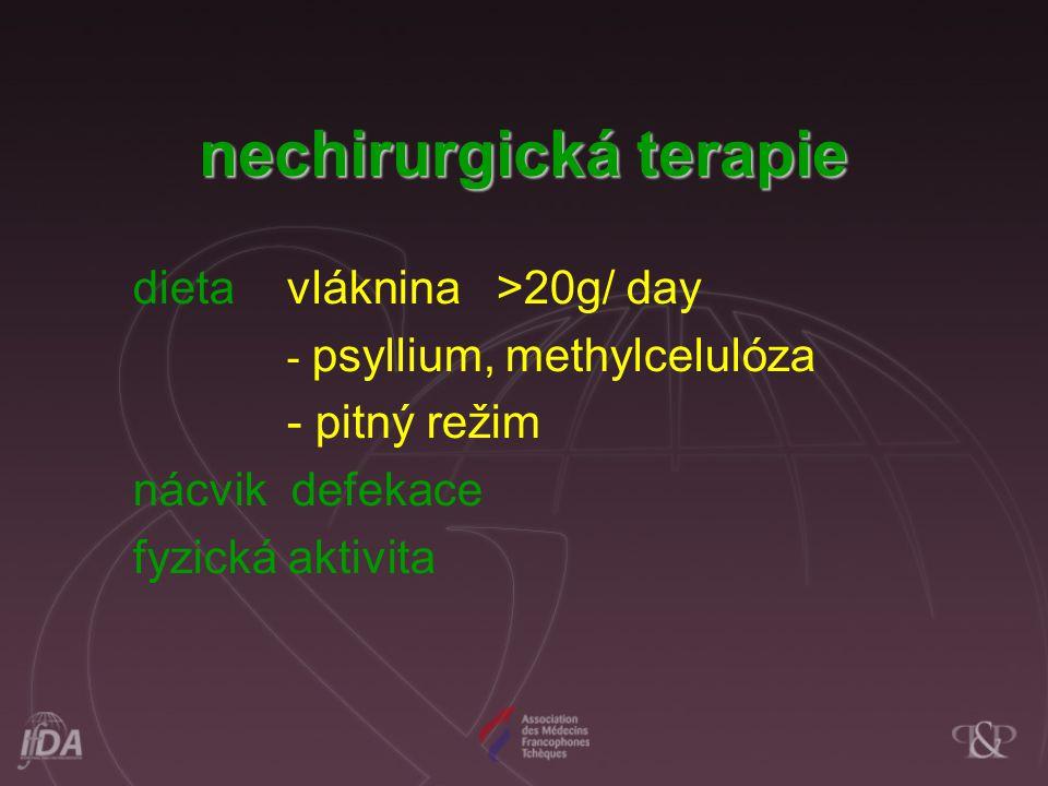 dieta vláknina >20g/ day - psyllium, methylcelulóza - pitný režim nácvik defekace fyzická aktivita nechirurgická terapie