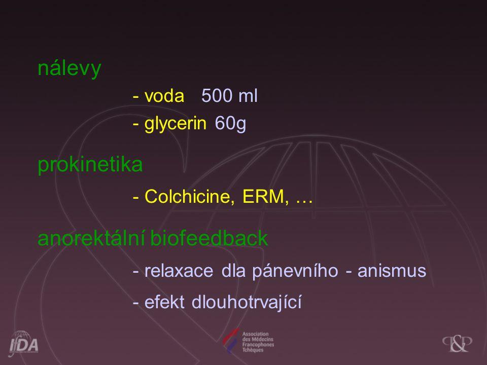 nálevy - voda 500 ml - glycerin 60g prokinetika - Colchicine, ERM, … anorektální biofeedback - relaxace dla pánevního - anismus - efekt dlouhotrvající