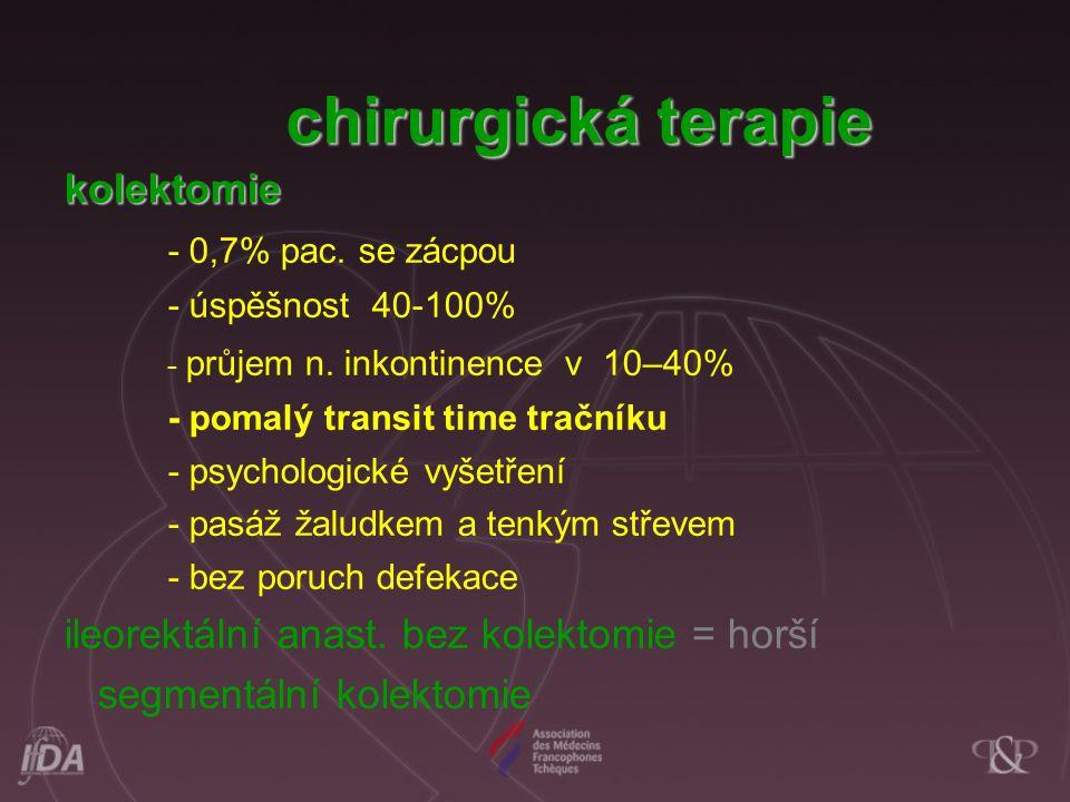 kolektomie - 0,7% pac. se zácpou - úspěšnost 40-100% - průjem n. inkontinence v 10–40% - pomalý transit time tračníku - psychologické vyšetření - pasá