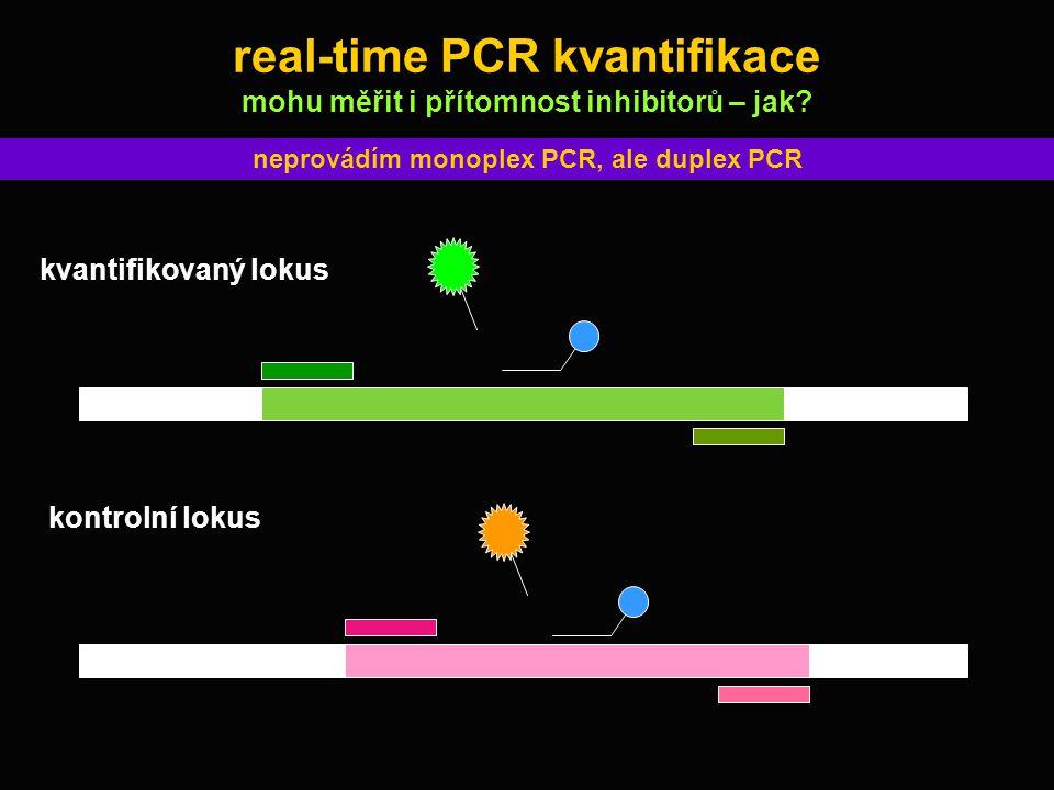 real-time PCR kvantifikace mohu měřit i přítomnost inhibitorů – jak? neprovádím monoplex PCR, ale duplex PCR kvantifikovaný lokus kontrolní lokus