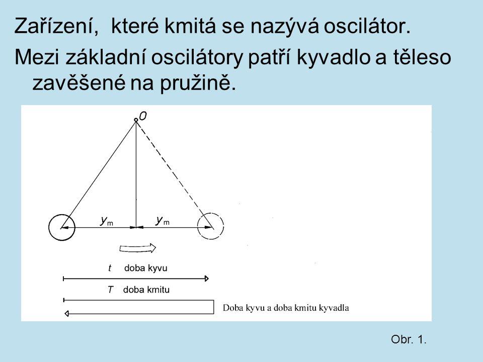 Zařízení, které kmitá se nazývá oscilátor. Mezi základní oscilátory patří kyvadlo a těleso zavěšené na pružině. Obr. 1.