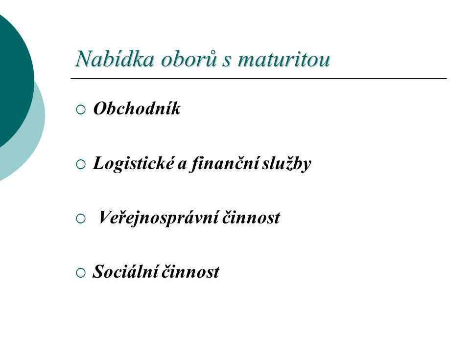 Nabídka oborů s maturitou  Obchodník  Logistické a finanční služby  Veřejnosprávní činnost  Sociální činnost