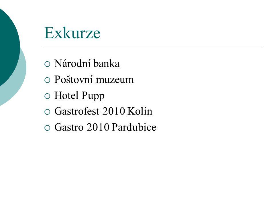 Exkurze  Národní banka  Poštovní muzeum  Hotel Pupp  Gastrofest 2010 Kolín  Gastro 2010 Pardubice