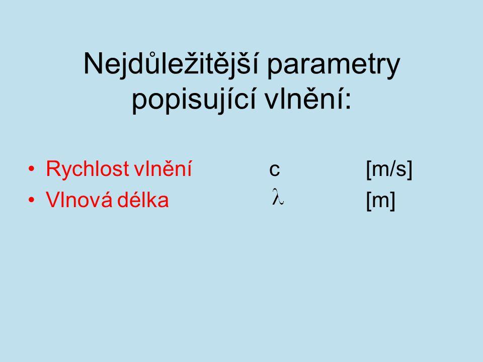 Nejdůležitější parametry popisující vlnění: Rychlost vlnění c[m/s] Vlnová délka [m]