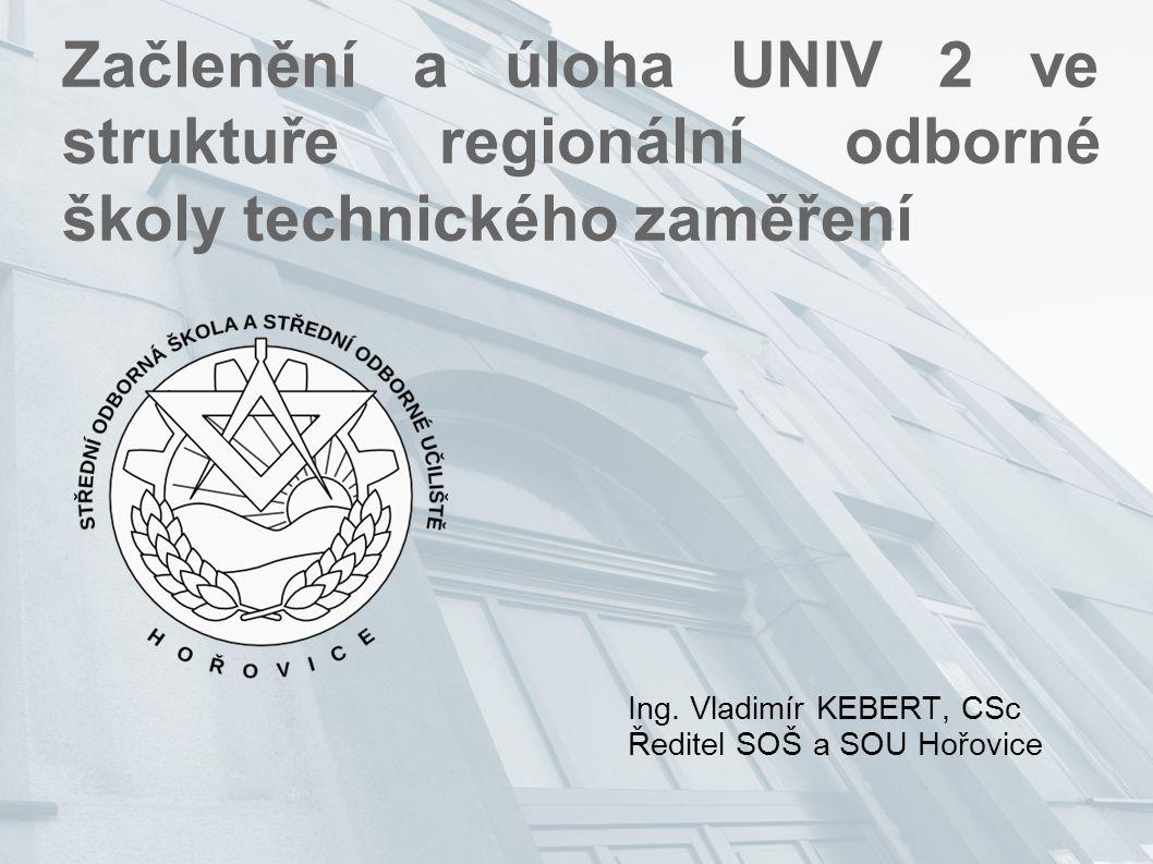 Začlenění a úloha UNIV 2 ve struktuře regionální odborné školy technického zaměření Ing. Vladimír KEBERT, CSc Ředitel SOŠ a SOU Hořovice