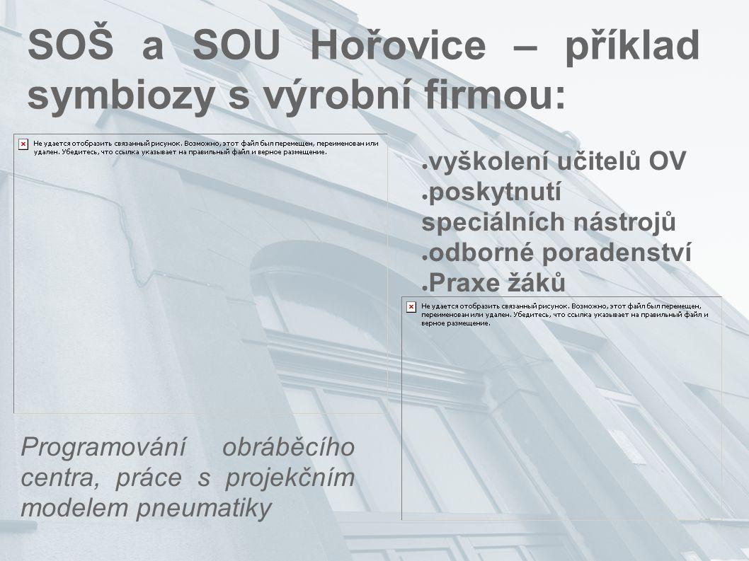 SOŠ a SOU Hořovice – příklad symbiozy s výrobní firmou: ● vyškolení učitelů OV ● poskytnutí speciálních nástrojů ● odborné poradenství ● Praxe žáků Pr
