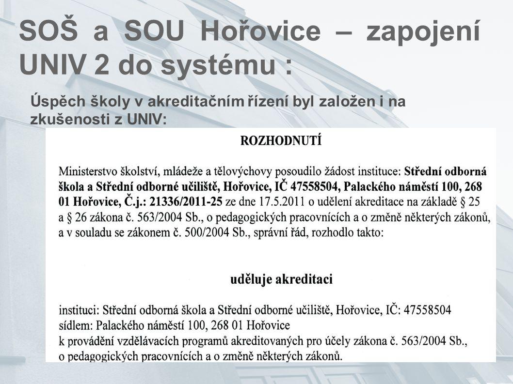 SOŠ a SOU Hořovice – zapojení UNIV 2 do systému : Úspěch školy v akreditačním řízení byl založen i na zkušenosti z UNIV: