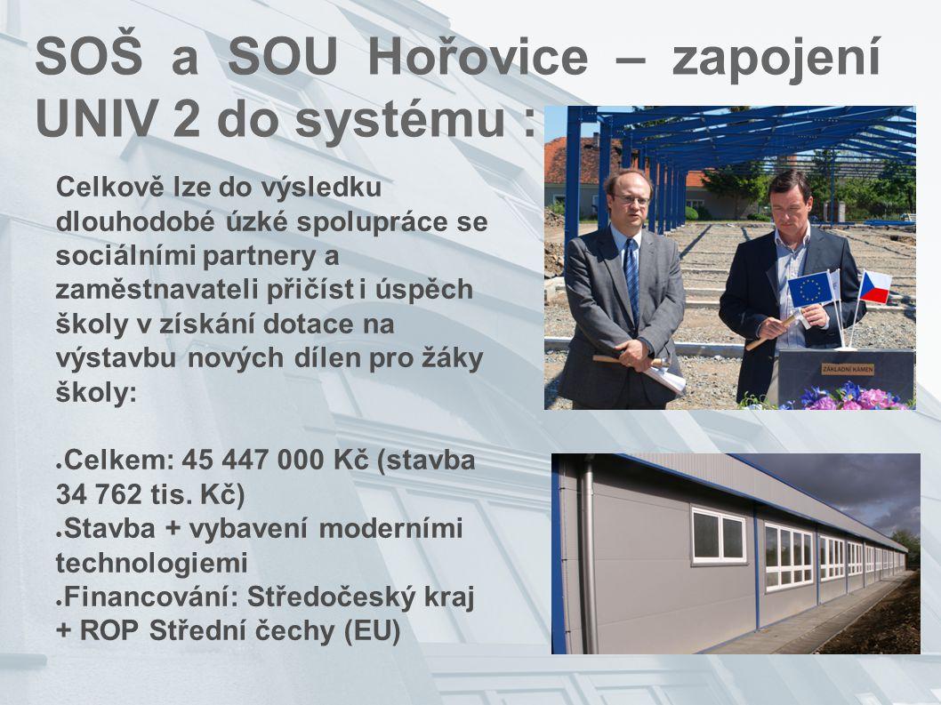 SOŠ a SOU Hořovice – zapojení UNIV 2 do systému : Celkově lze do výsledku dlouhodobé úzké spolupráce se sociálními partnery a zaměstnavateli přičíst i