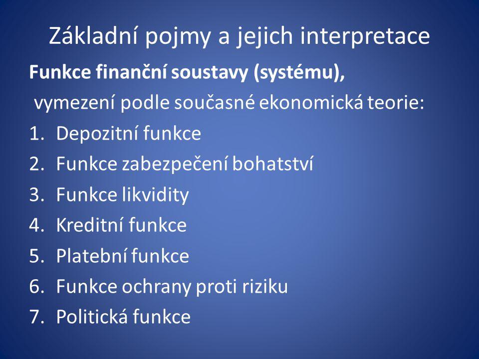 Základní pojmy a jejich interpretace Funkce finanční soustavy (systému), vymezení podle současné ekonomická teorie: 1.Depozitní funkce 2.Funkce zabezpečení bohatství 3.Funkce likvidity 4.Kreditní funkce 5.Platební funkce 6.Funkce ochrany proti riziku 7.Politická funkce