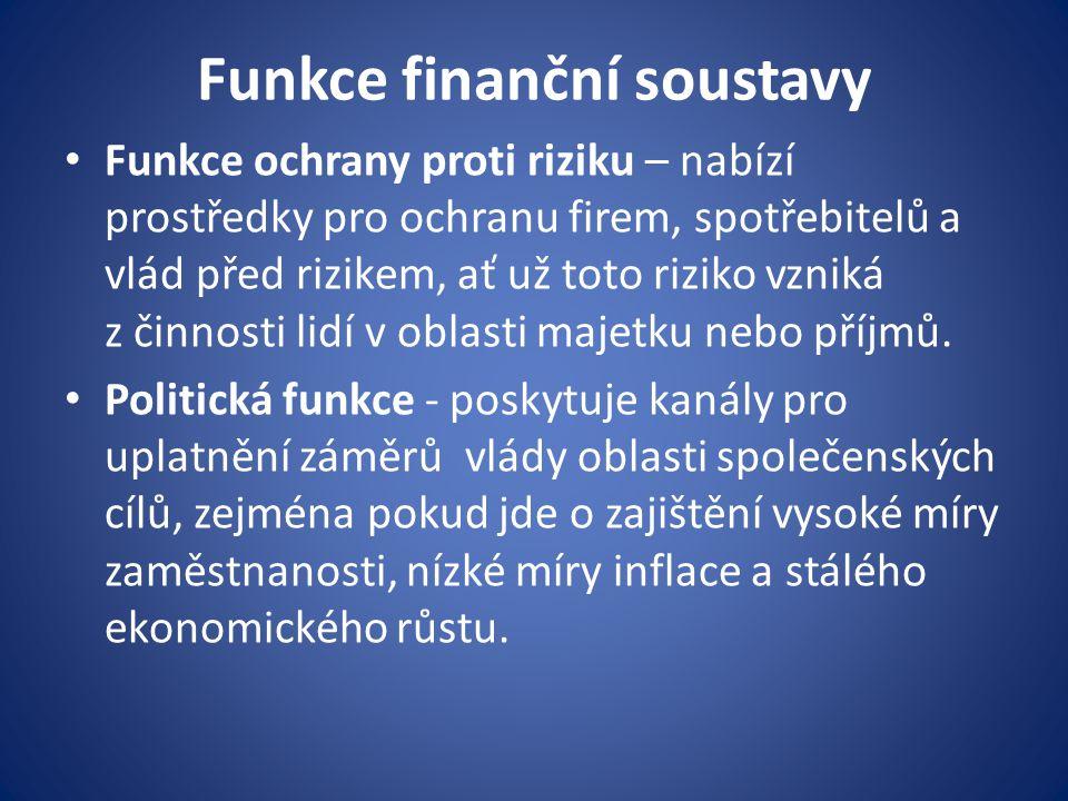 Funkce finanční soustavy Funkce ochrany proti riziku – nabízí prostředky pro ochranu firem, spotřebitelů a vlád před rizikem, ať už toto riziko vzniká z činnosti lidí v oblasti majetku nebo příjmů.