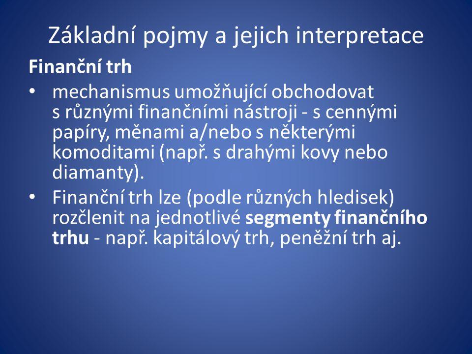 Základní pojmy a jejich interpretace Finanční trh mechanismus umožňující obchodovat s různými finančními nástroji - s cennými papíry, měnami a/nebo s některými komoditami (např.