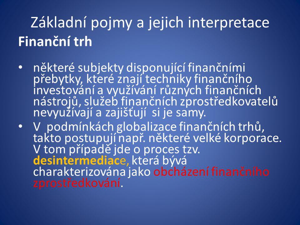 Základní pojmy a jejich interpretace Finanční trh některé subjekty disponující finančními přebytky, které znají techniky finančního investování a využ