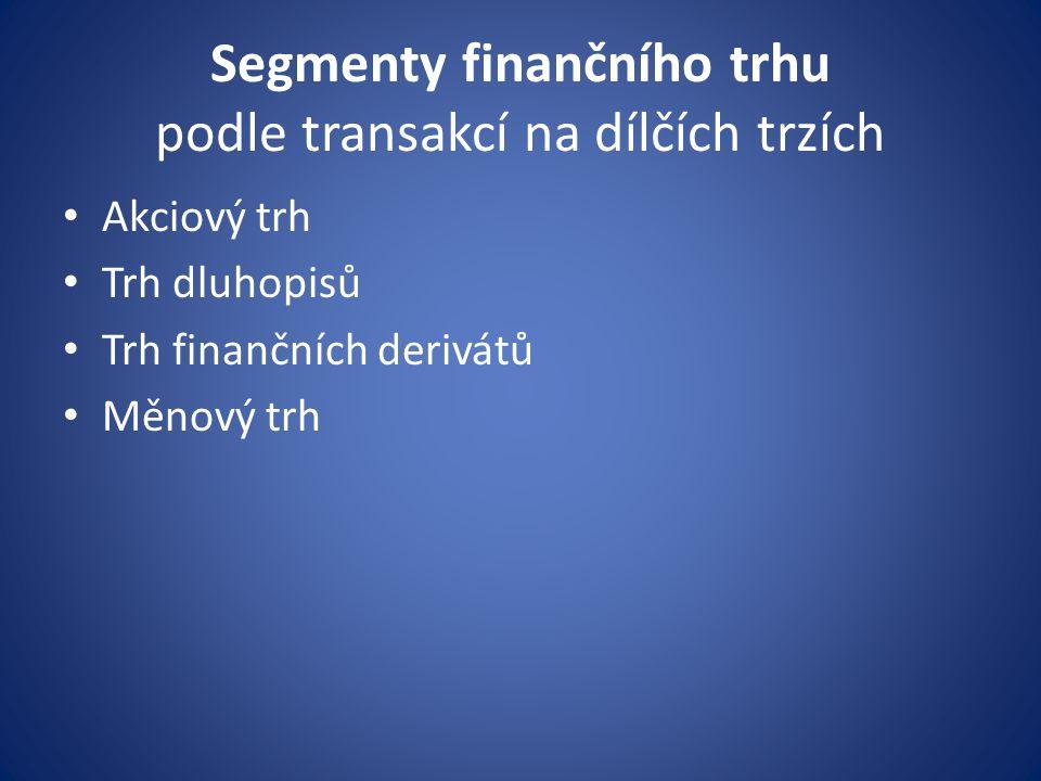 Segmenty finančního trhu podle transakcí na dílčích trzích Akciový trh Trh dluhopisů Trh finančních derivátů Měnový trh