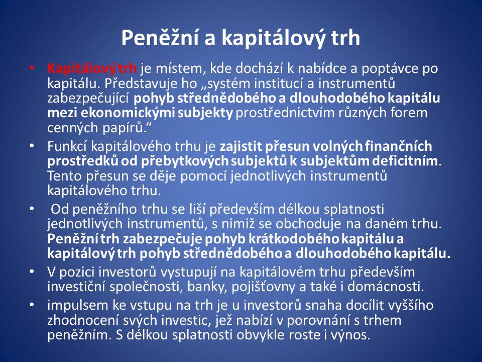 """Peněžní a kapitálový trh Kapitálový trh je místem, kde dochází k nabídce a poptávce po kapitálu. Představuje ho """"systém institucí a instrumentů zabezp"""