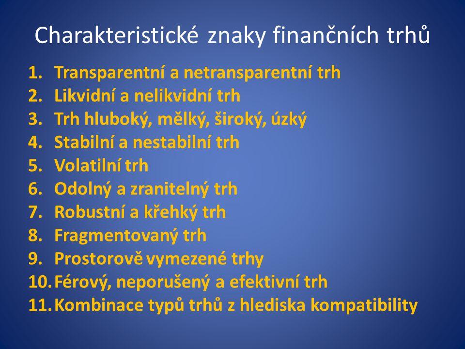 Charakteristické znaky finančních trhů 1.Transparentní a netransparentní trh 2.Likvidní a nelikvidní trh 3.Trh hluboký, mělký, široký, úzký 4.Stabilní