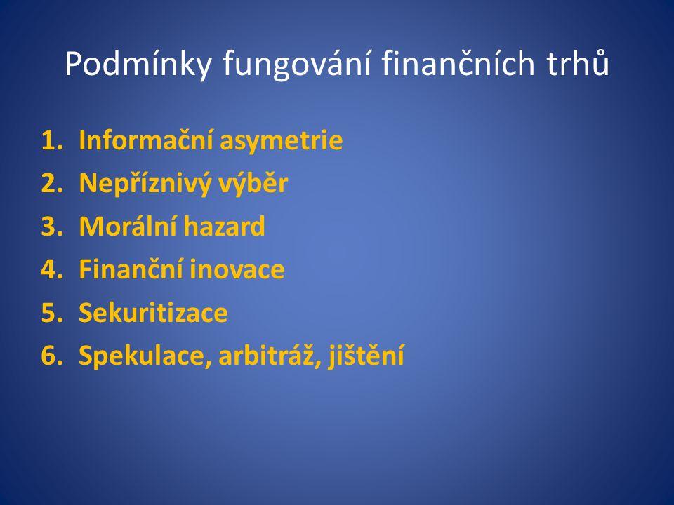 Podmínky fungování finančních trhů 1.Informační asymetrie 2.Nepříznivý výběr 3.Morální hazard 4.Finanční inovace 5.Sekuritizace 6.Spekulace, arbitráž,