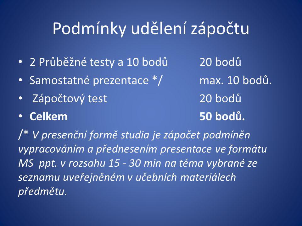 Podmínky udělení zápočtu 2 Průběžné testy a 10 bodů20 bodů Samostatné prezentace */max. 10 bodů. Zápočtový test20 bodů Celkem50 bodů. /* V presenční f