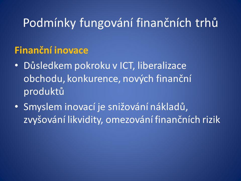 Podmínky fungování finančních trhů Finanční inovace Důsledkem pokroku v ICT, liberalizace obchodu, konkurence, nových finanční produktů Smyslem inovací je snižování nákladů, zvyšování likvidity, omezování finančních rizik