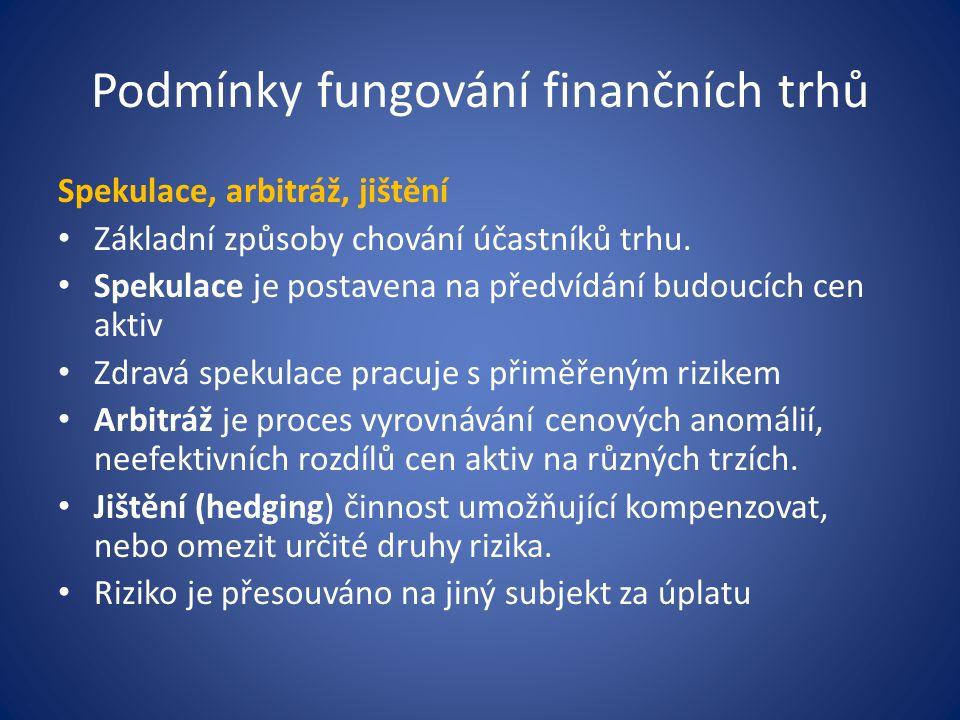 Podmínky fungování finančních trhů Spekulace, arbitráž, jištění Základní způsoby chování účastníků trhu. Spekulace je postavena na předvídání budoucíc