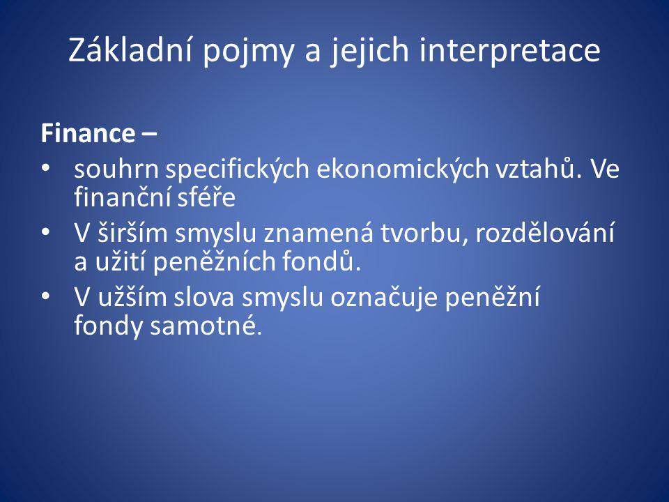 Základní pojmy a jejich interpretace Finance – souhrn specifických ekonomických vztahů.